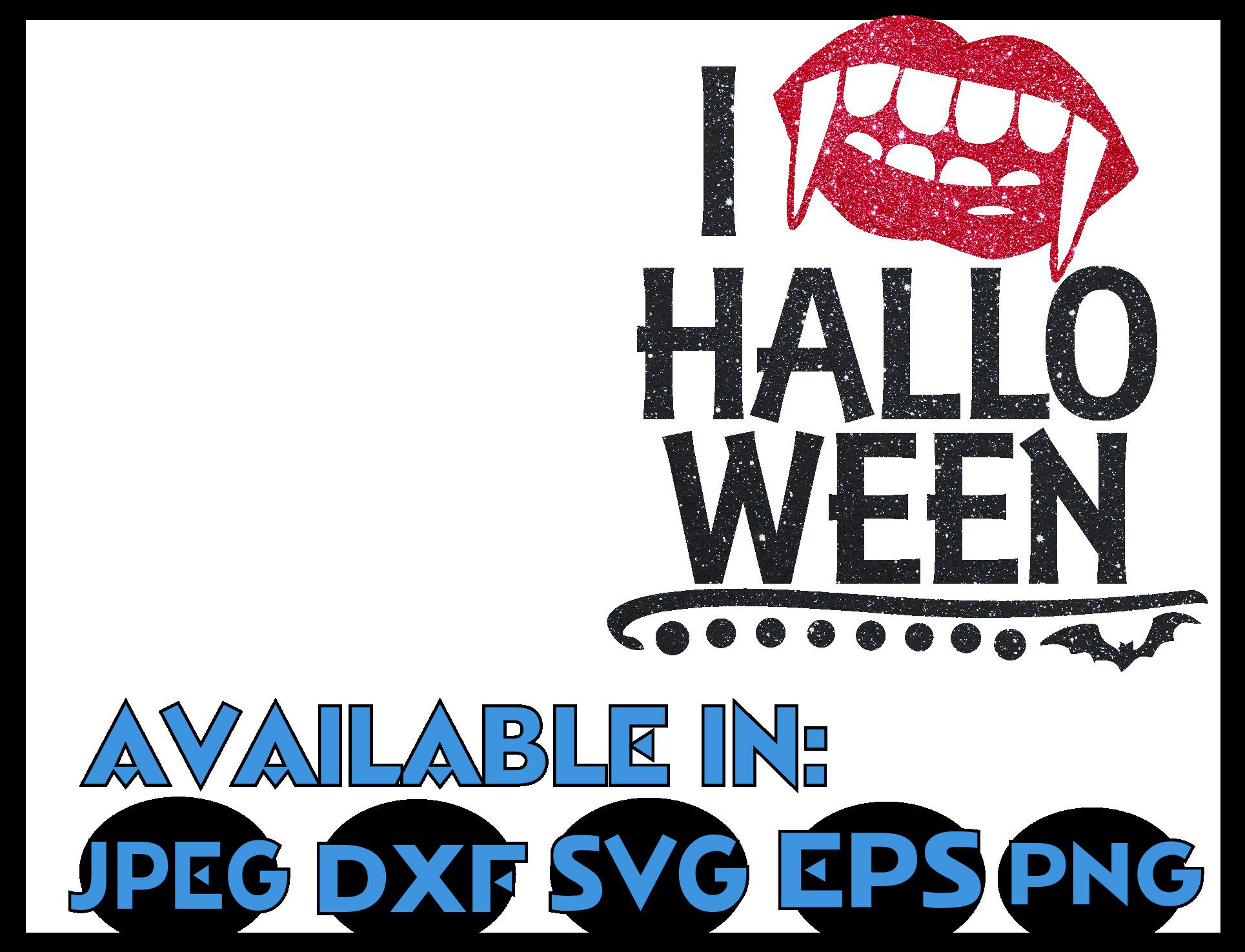 Bat SVG DXF JPEG Silhouette Cricut love Halloween lips glitt example image 3