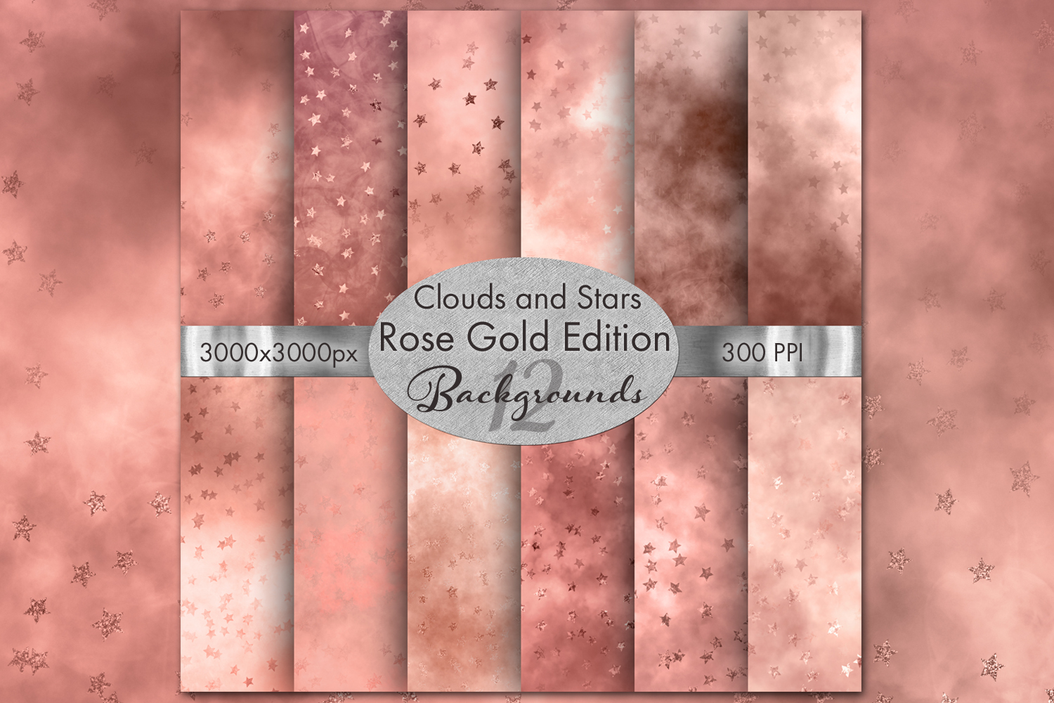 Clouds and Stars Rose Gold Edition Backgrounds - 12 Images example image 1