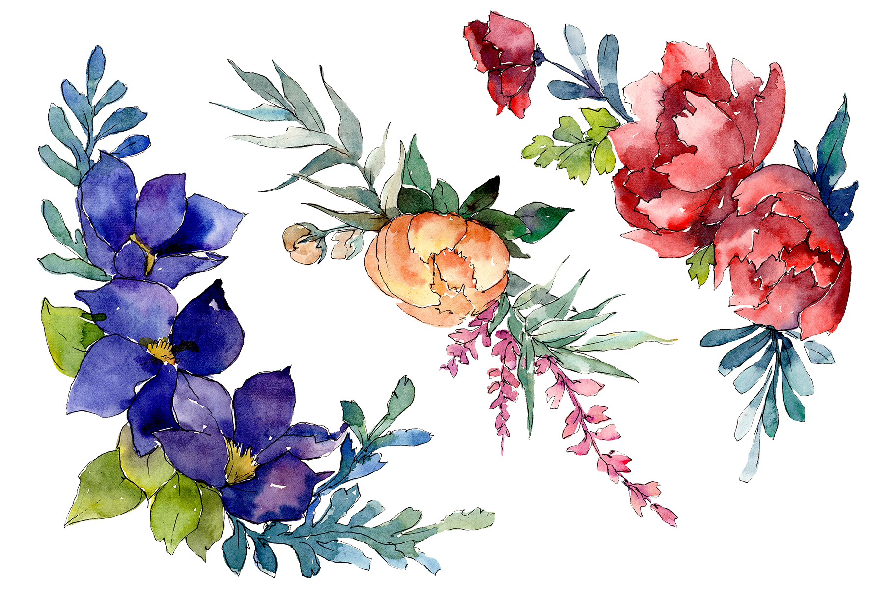 Bouquet Sunny mood watercolor png example image 1