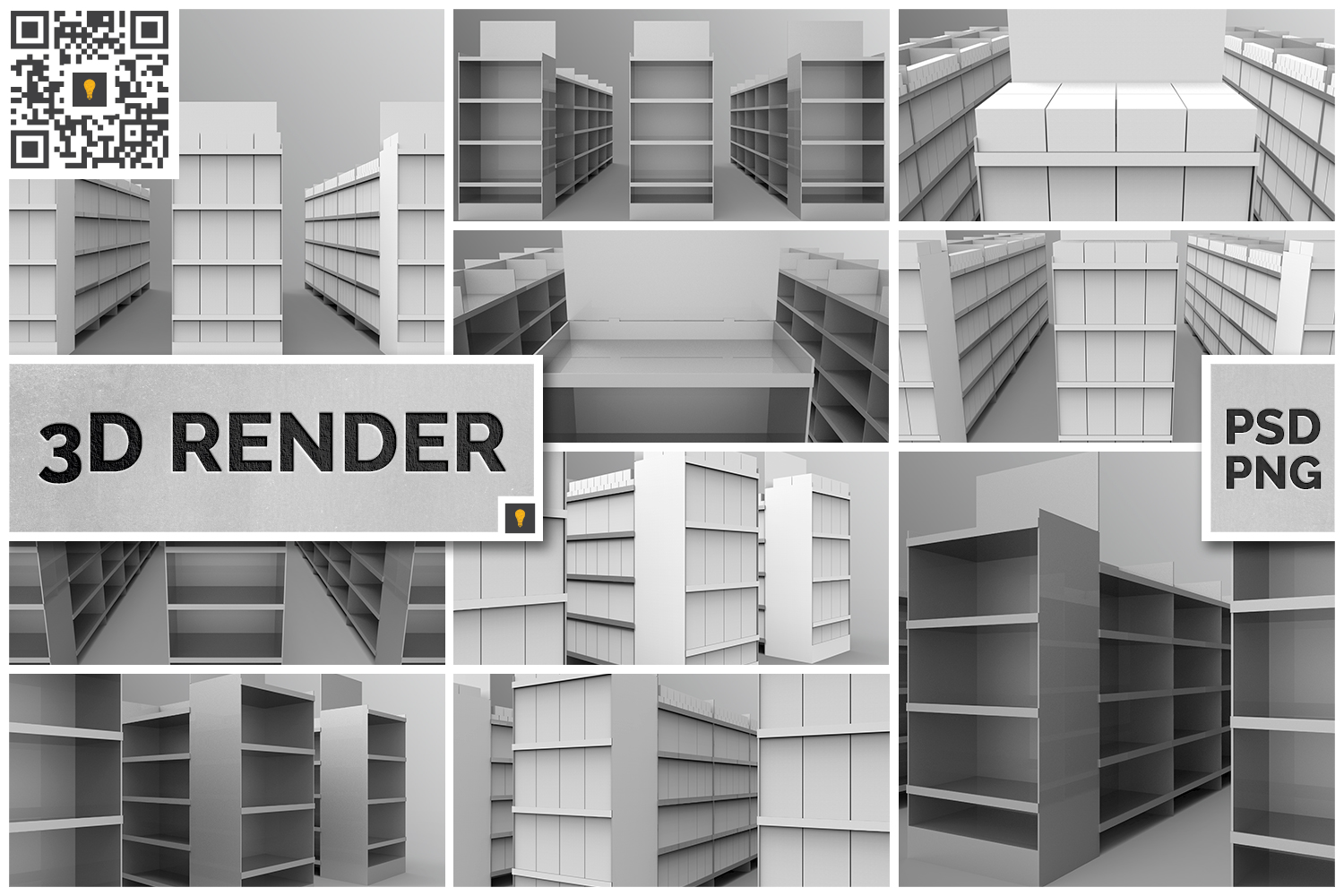 Aisle with Gondola Store 3D Render example image 1