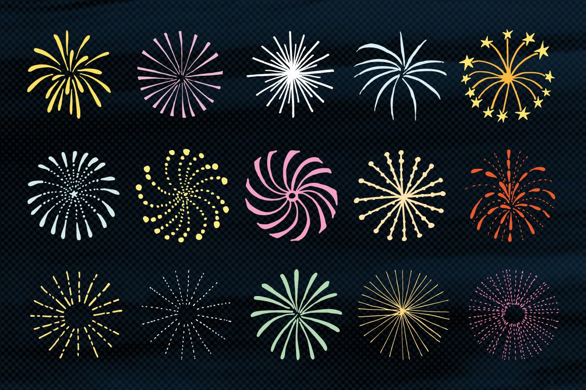 Hand drawn Fireworks & Sunbursts set example image 3