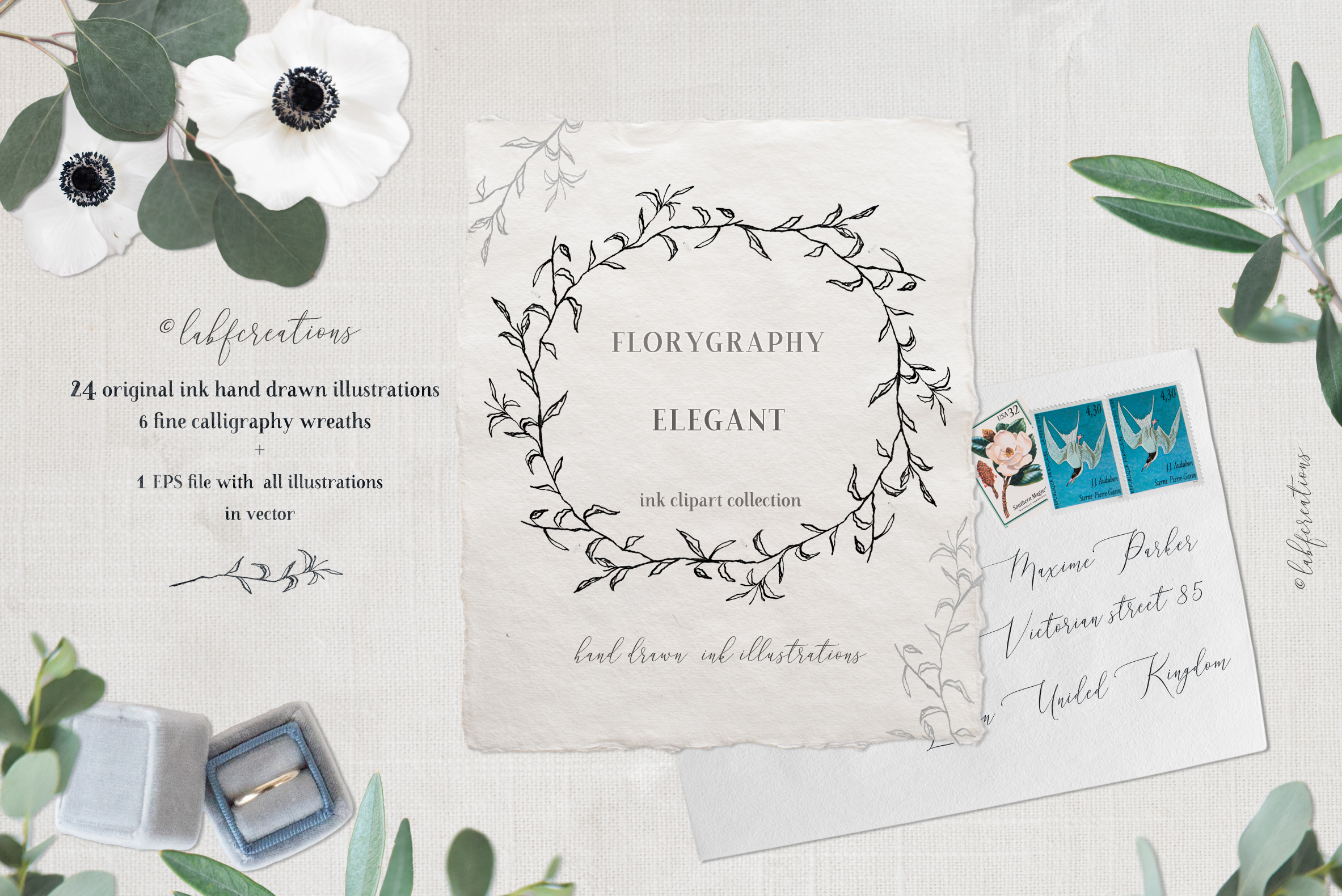 Ink calligraphy illustrations. Floral. Florigraphy Elegant. example image 2