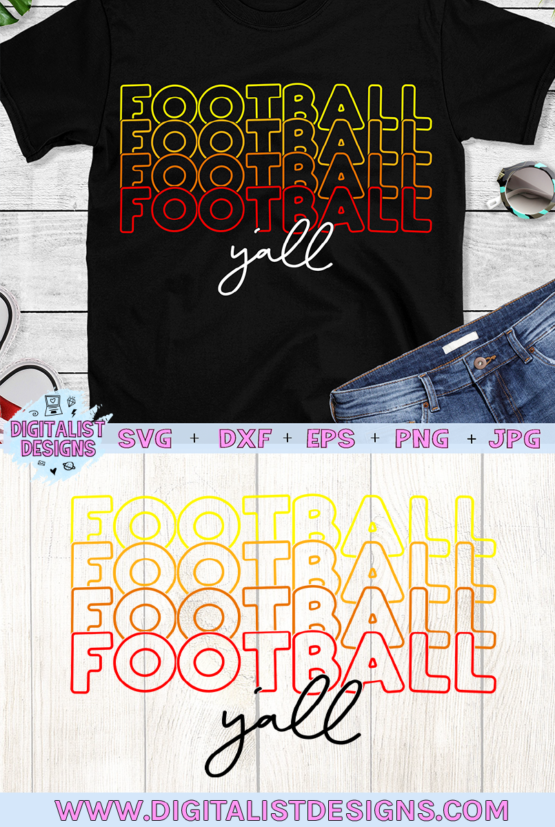Football SVG | Football Y'all SVG | Cricut | Stacked example image 2