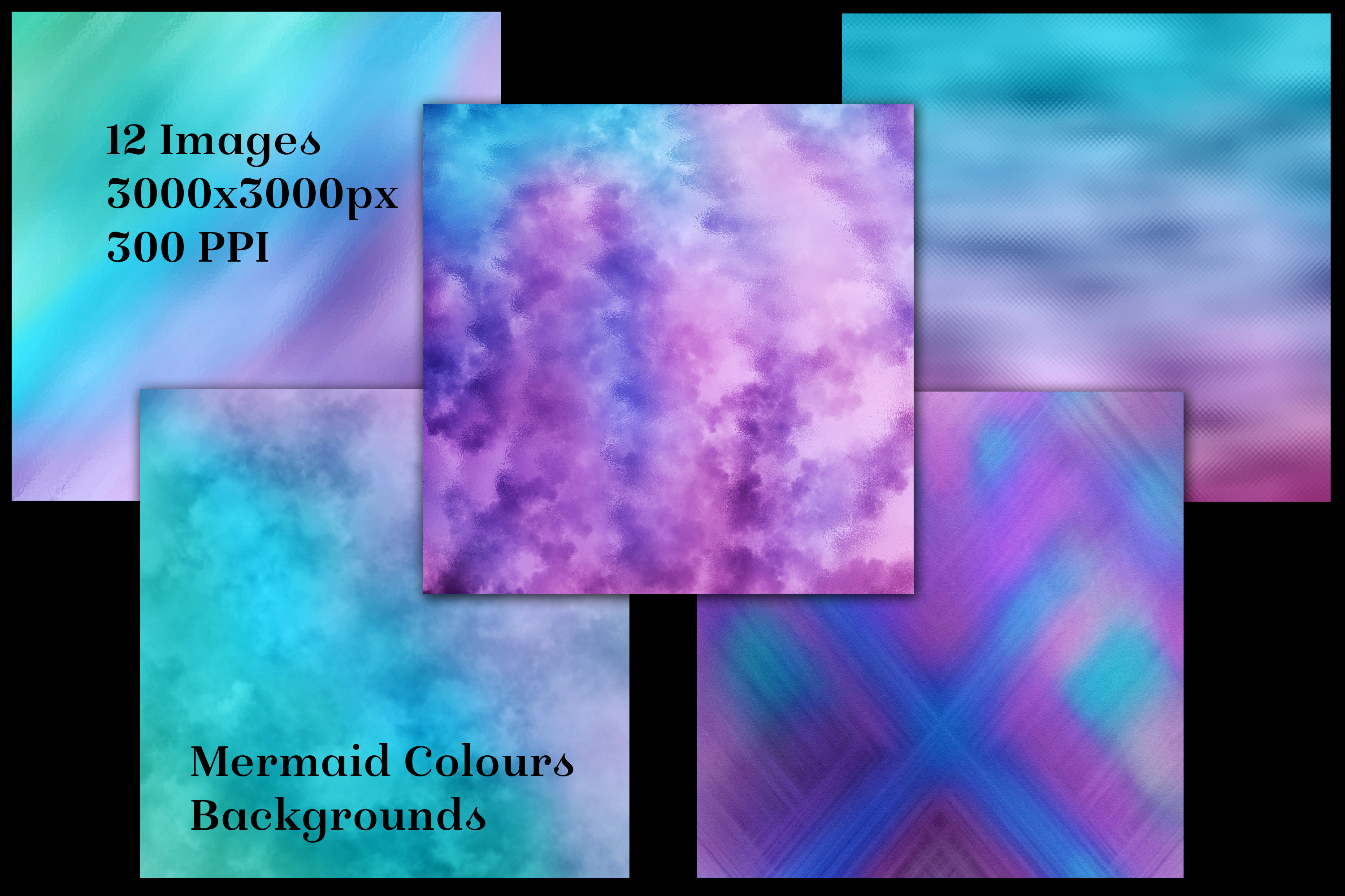 Mermaid Colours Backgrounds - 12 Image Textures Set example image 2