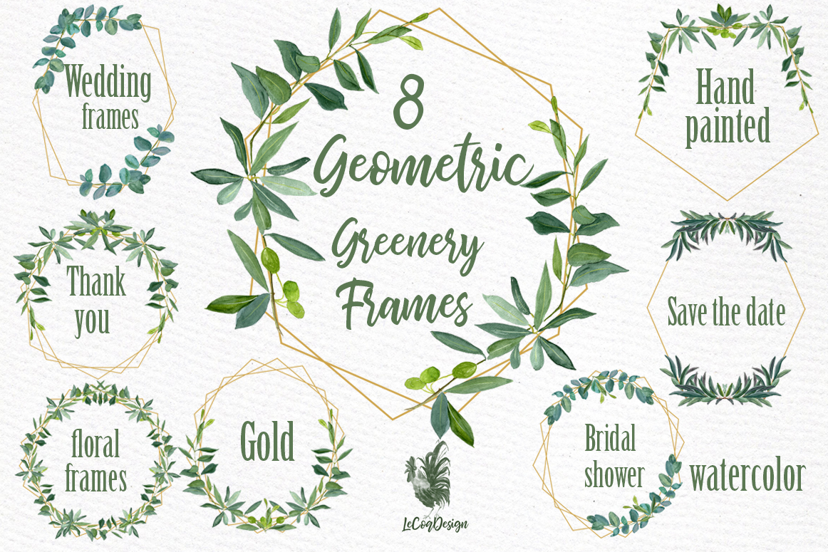 Geometric Frames Greenery clipart example image 1