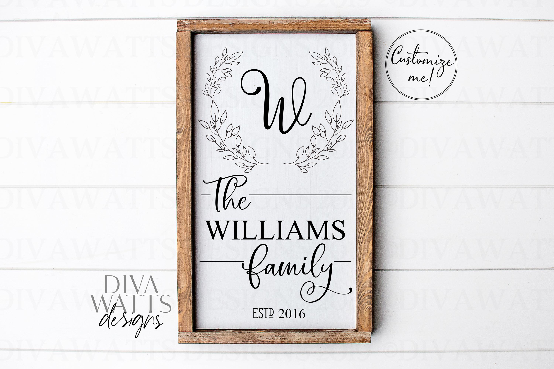 Monogram Wreath Family Last Name Farmhouse Sign SVG example image 2