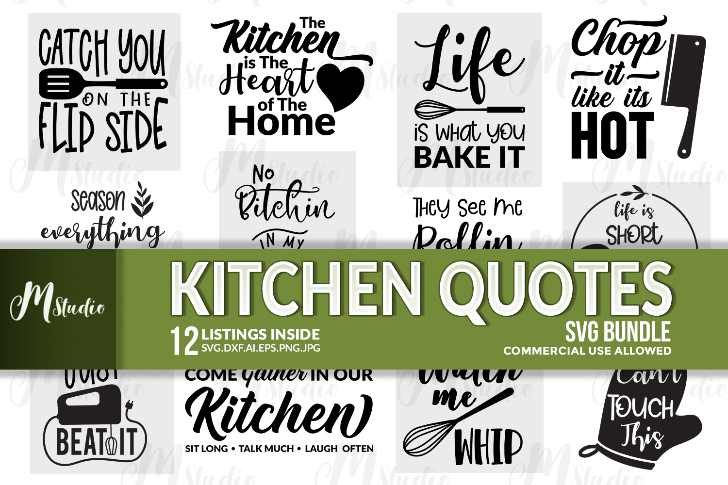 Kitchen Quotes svg bundle example image 1