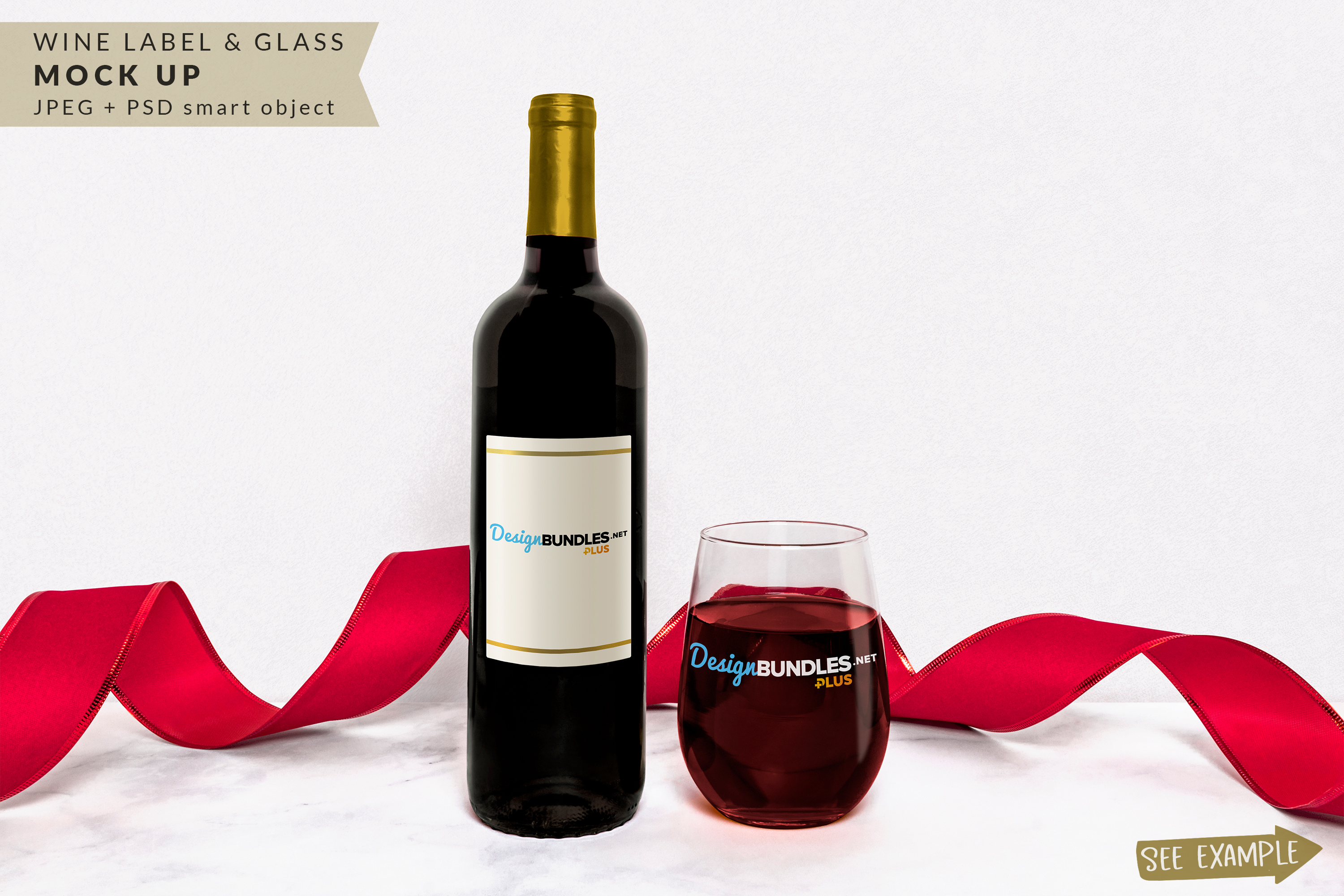 Wine Bottle Label & Wine Glass Mockup example image 1