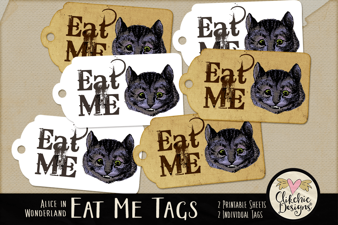 Alice in Wonderland Cheshire Cat Eat Me Printable Tags example image 1