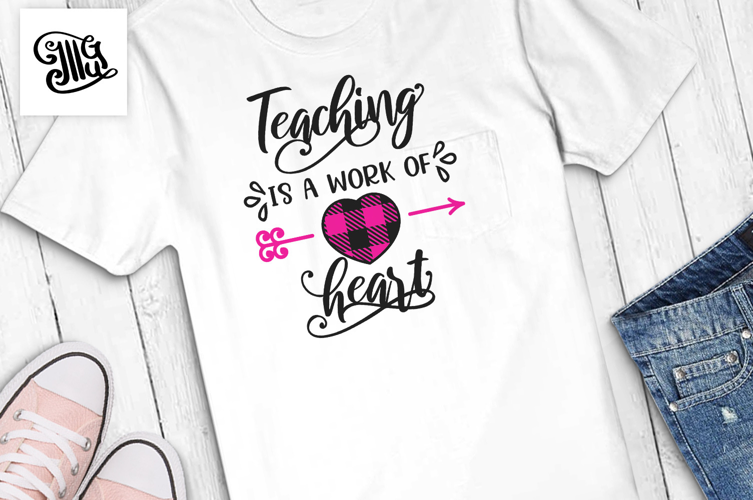 Teacher Valentines day svg example image 1