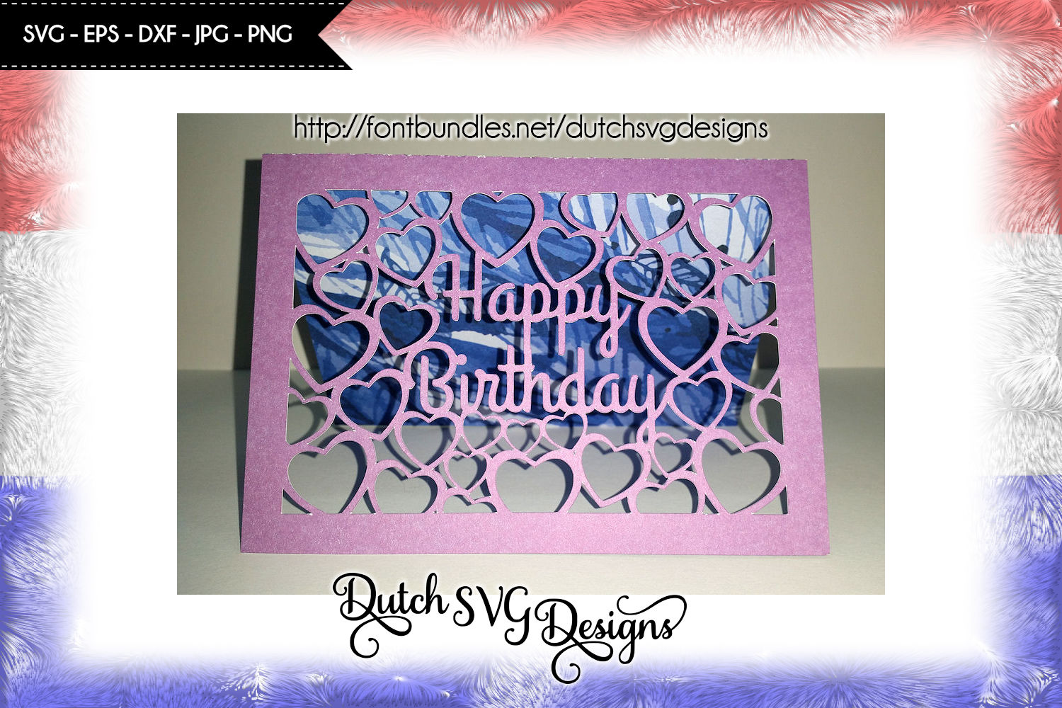 Card cutting file Happy Birthday with cutout hearts example image 1