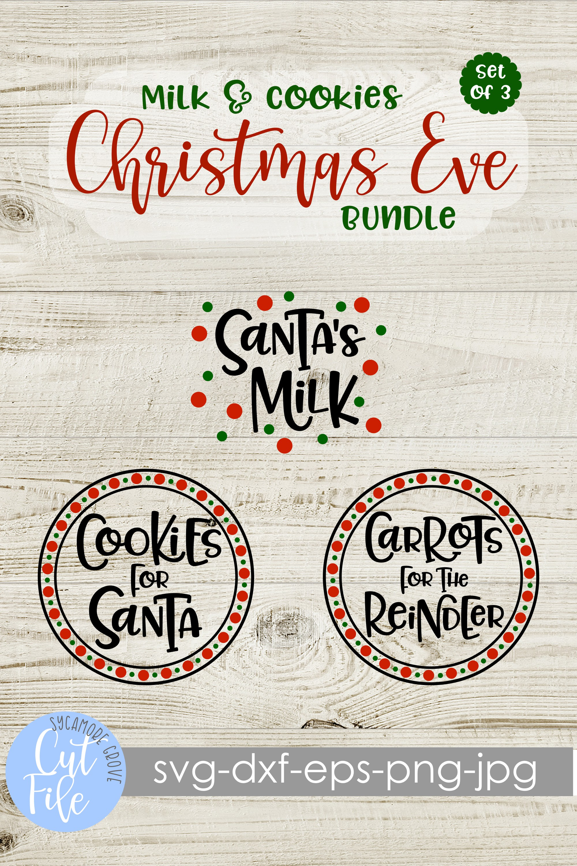 Milk and Cookies Christmas Eve SVG Bundle example image 8