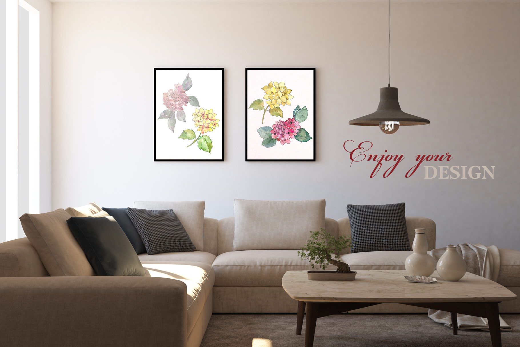 Hydrangeas Yellow-pink Watercolor png example image 2