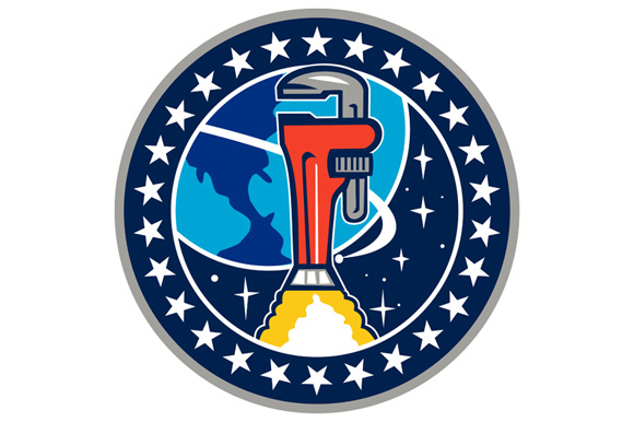 Pipe Wrench Rocket Booster Orbit Earth Circle Retro example image 1