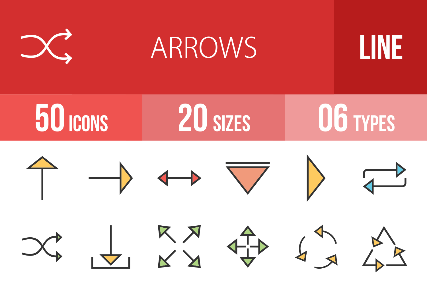 50 Arrows Linear Multicolor Icons example image 1