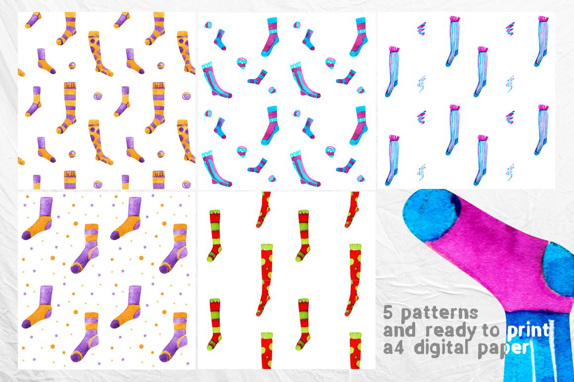 Watercolor socks set example image 4