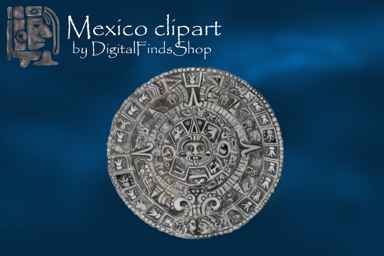 Mayan clipart, ancient civilizations of Mexico watercolor example image 2