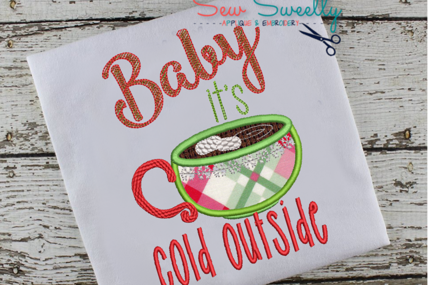 Baby it's Cold OutsideApplique Embroidery Design example image 1