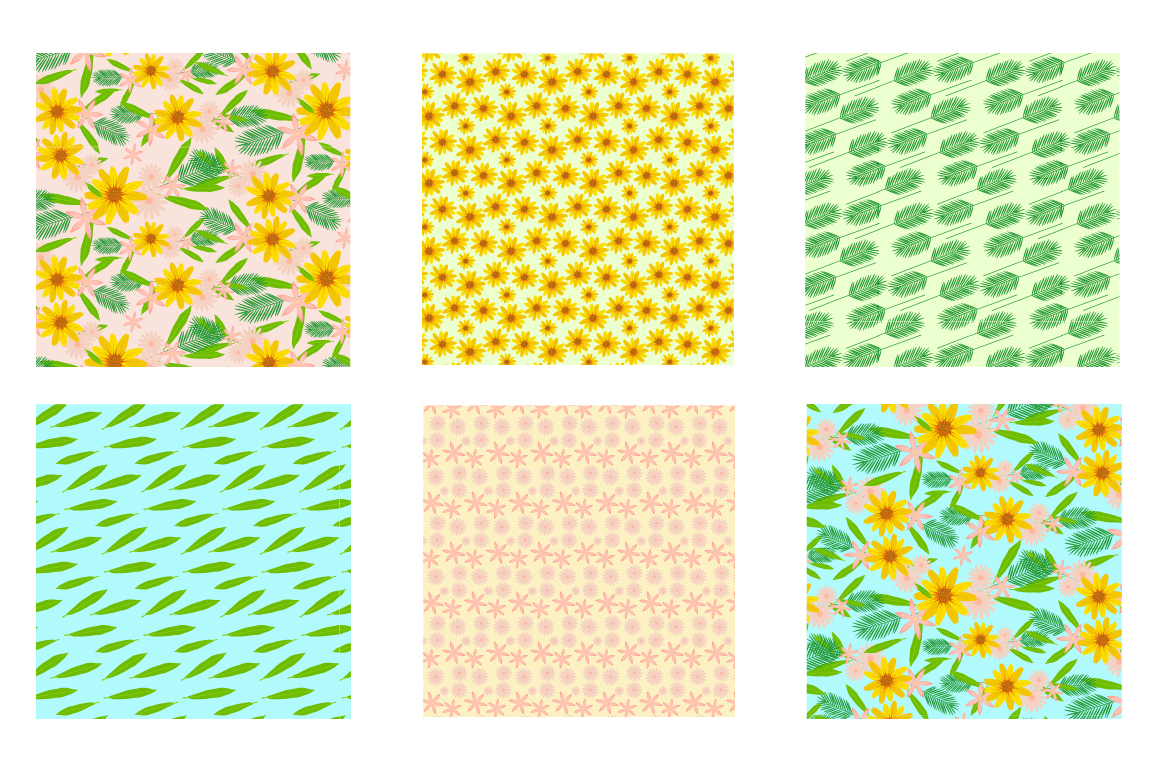 Sunshine Florals Pattern collection, vector ai, eps and jpeg example image 3