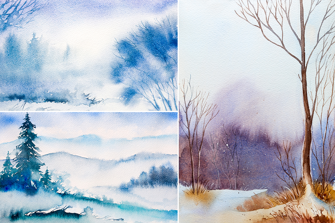 Winter Landscapes set#3. Watercolor. example image 3
