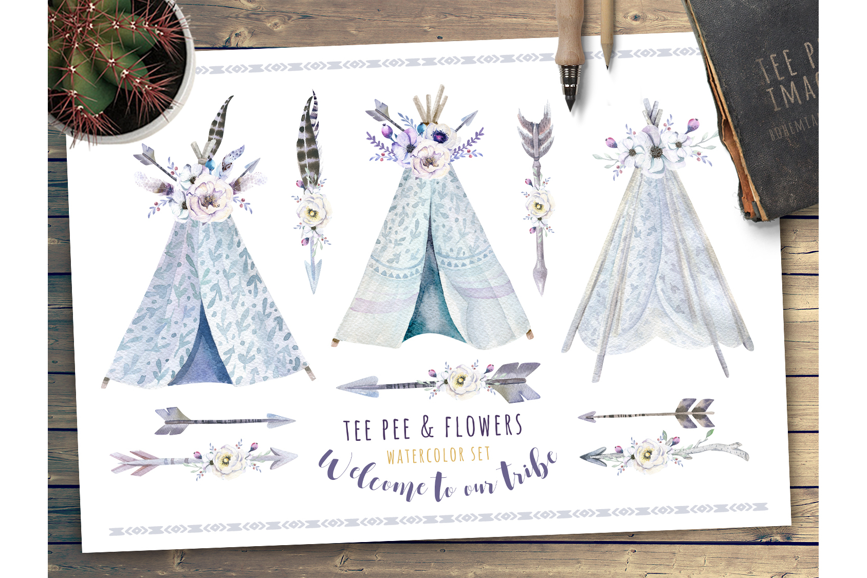 Watercolor bohemian teepee & pattern example image 2