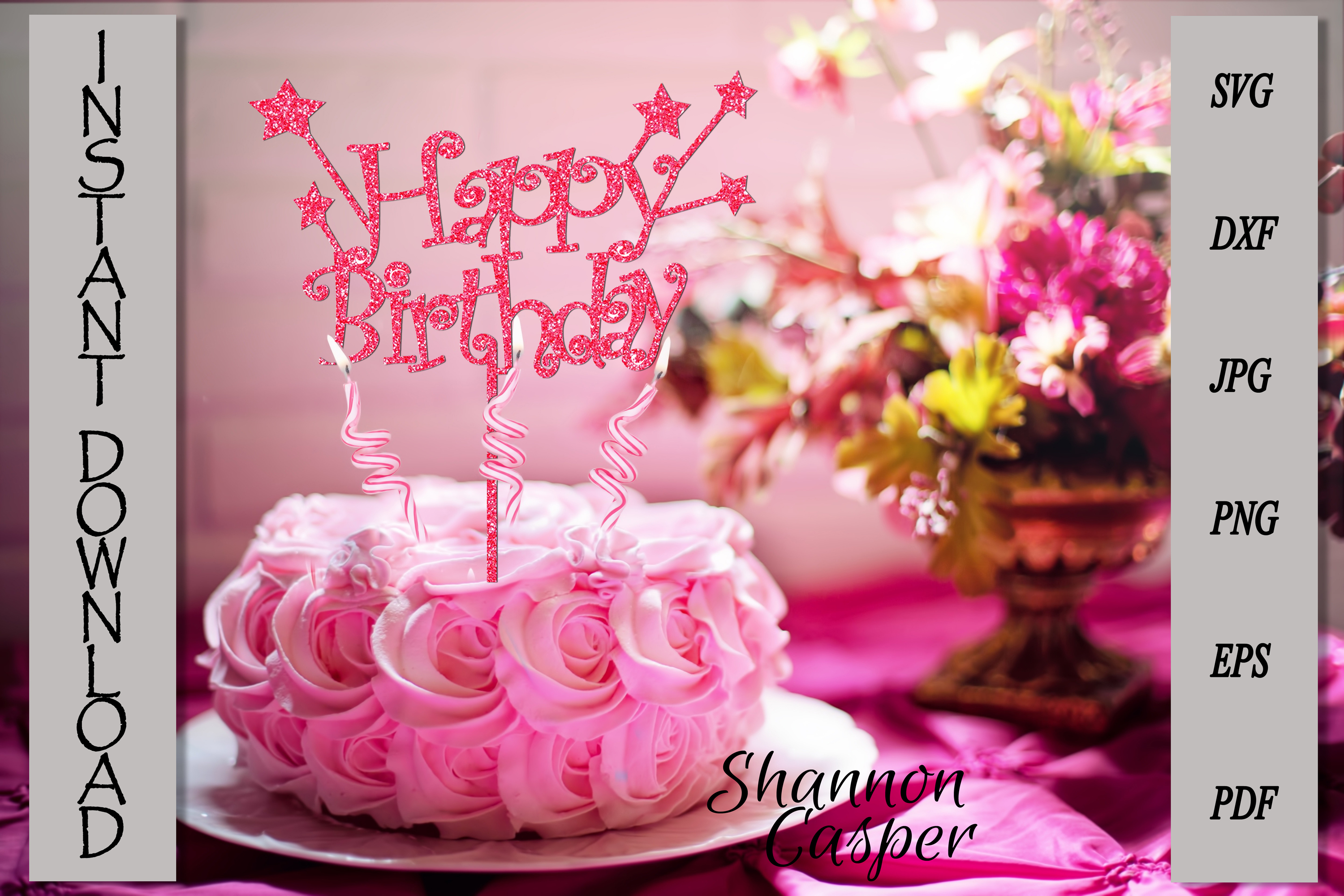 Happy Birthday Cake Topper with Stars example image 4