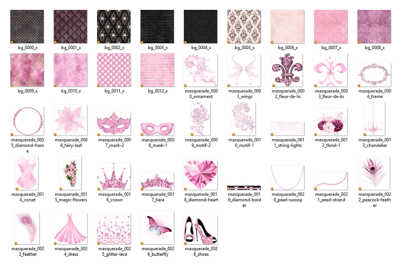 Pink Masquerade Digital Scrapbooking Kit example image 3