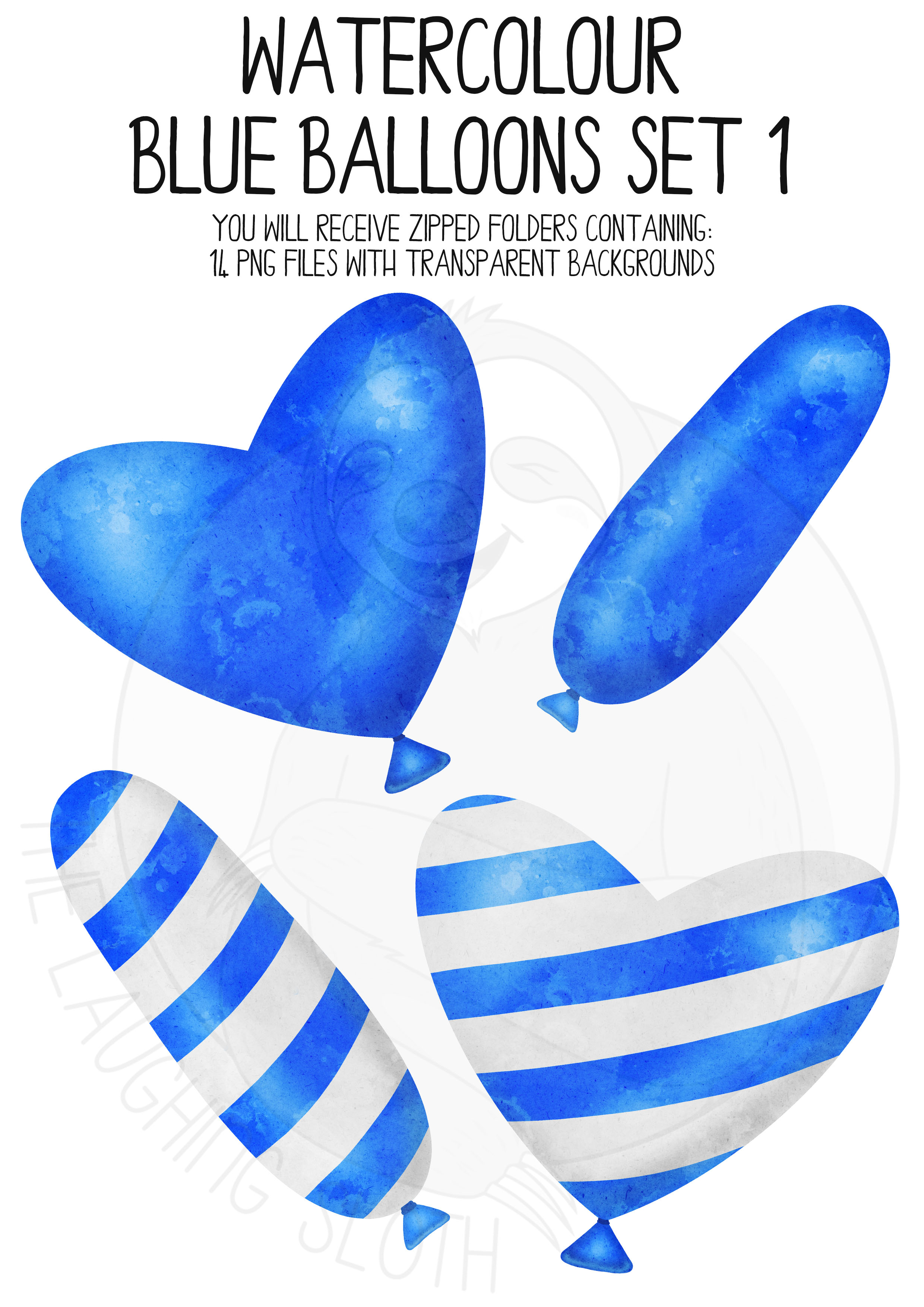 Blue Watercolor Balloon Clipart Set example image 2