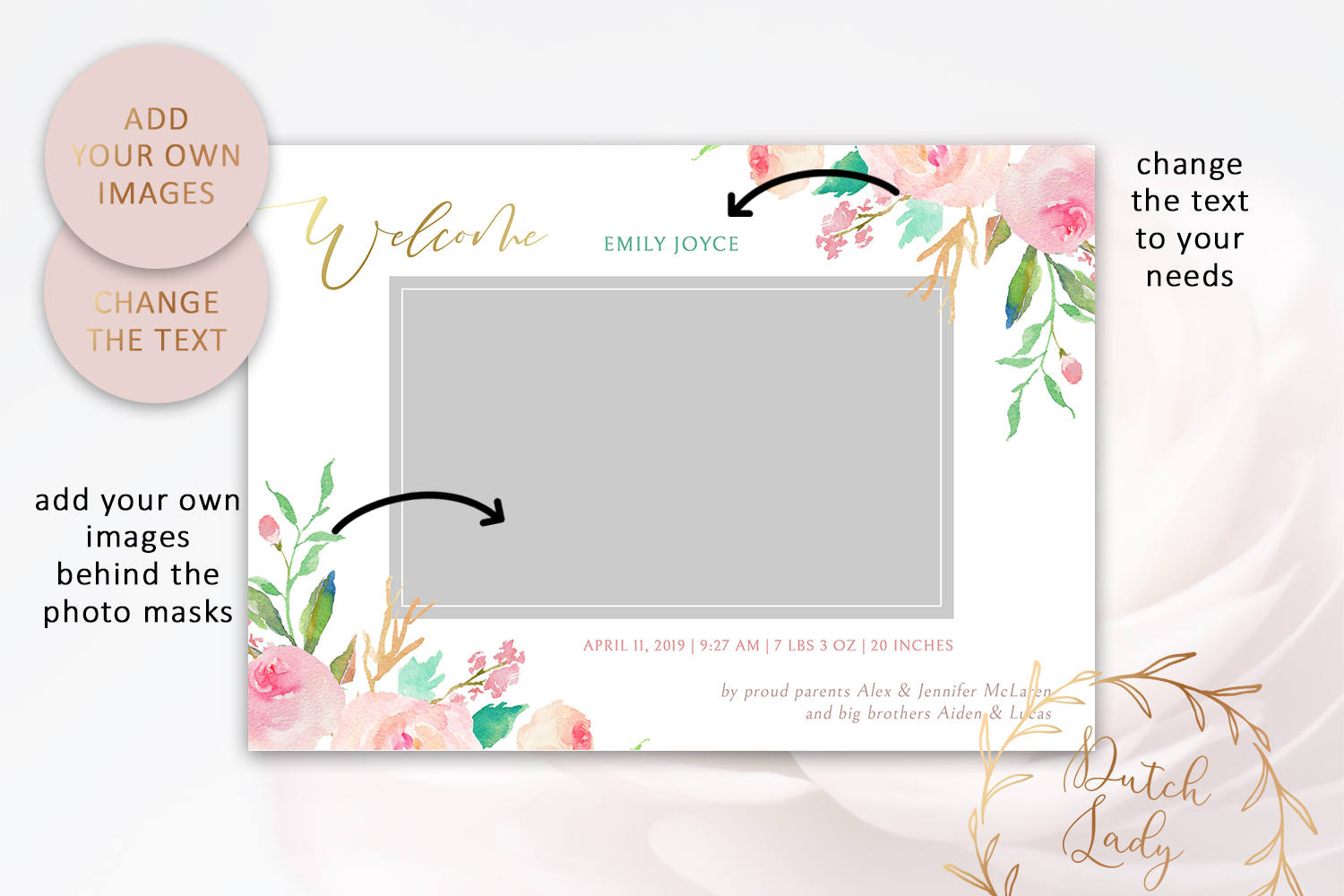 PSD Birth Announcement Card Template - Design #3 example image 2