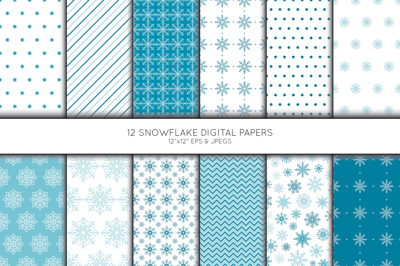 Snowflake Digital Paper, Snowflake Scrapbook paper example image 1