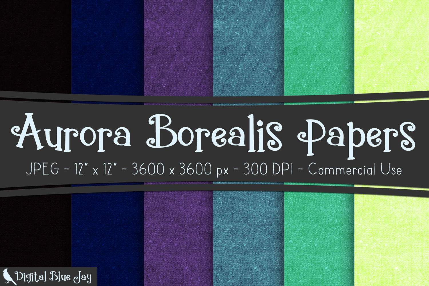 Digital Paper Textured Backgrounds - Aurora Borealis example image 1