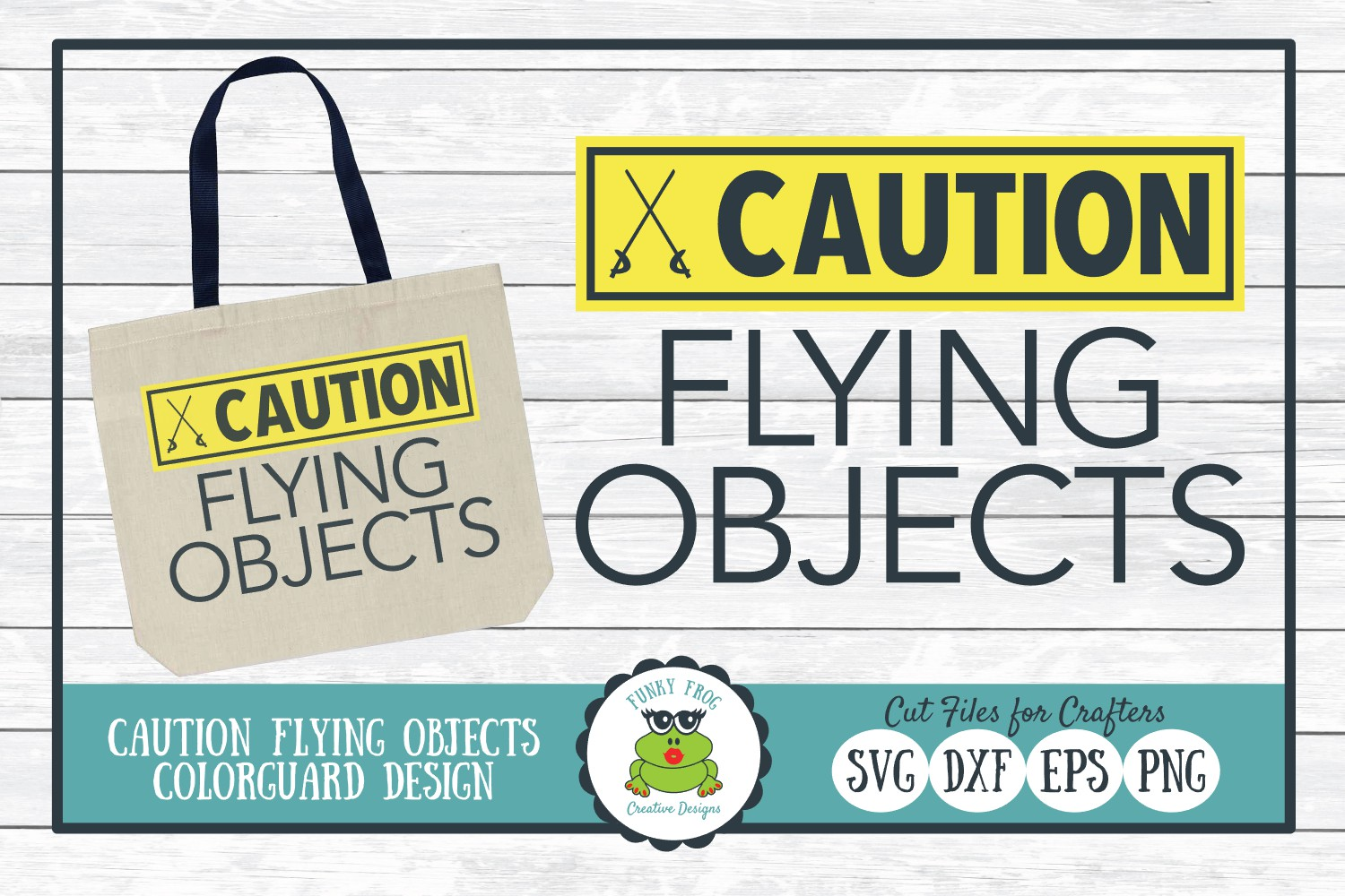 Caution Flying Objects, Color Guard SVG Cut File example image 1