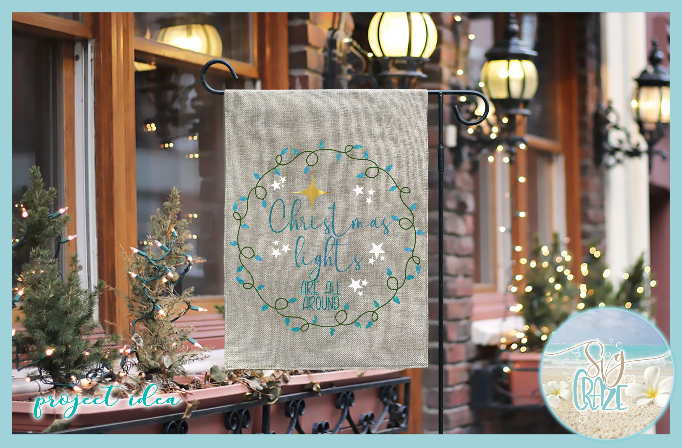 Christmas Lights Are All Around Quote SVG example image 2