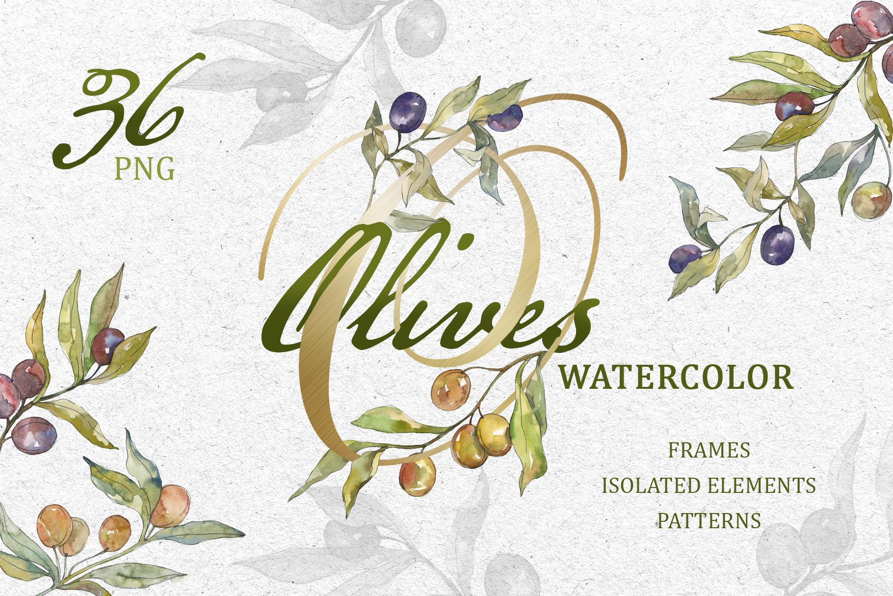 Tasty olives watercolor png example image 1