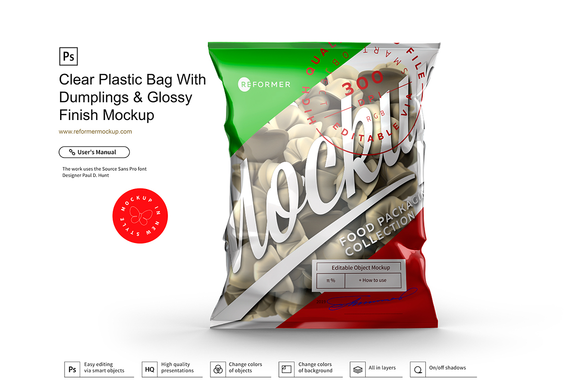 Clear Plastic Bag With Dumplings & Glossy Finish Mockup example image 2