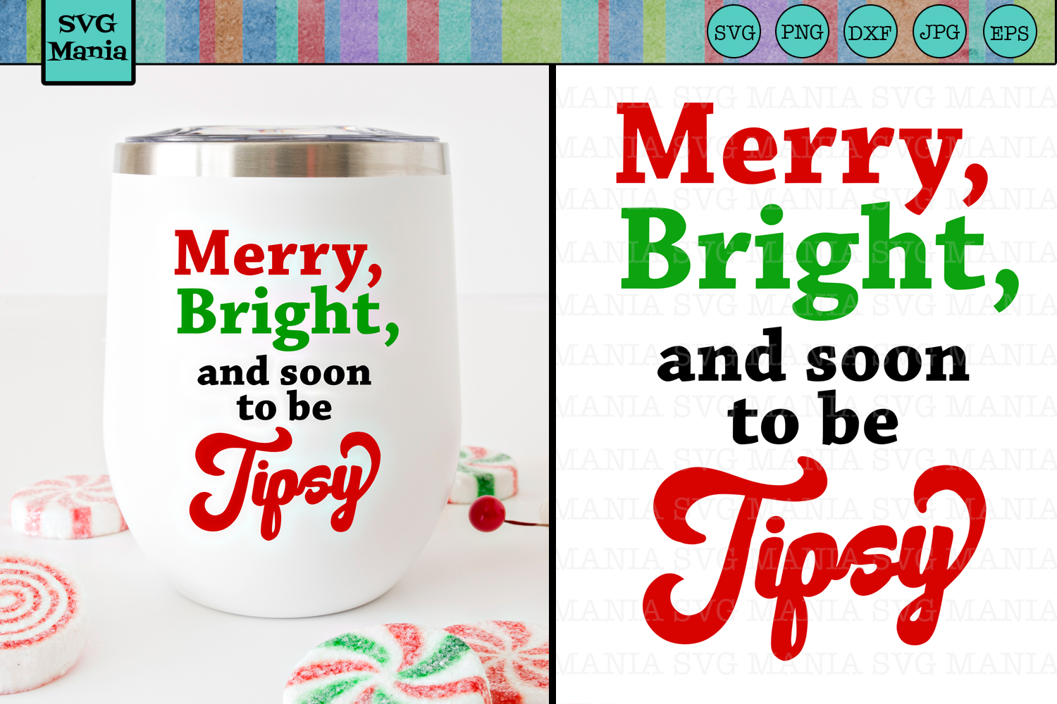 Christmas Wine Glass SVG File, Funny Wine Glass Decal SVG example image 1