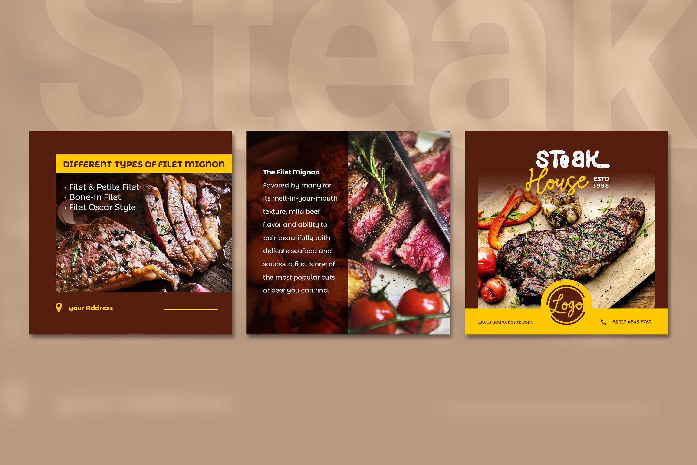 Steak Social Media Post - brown color theme example image 3