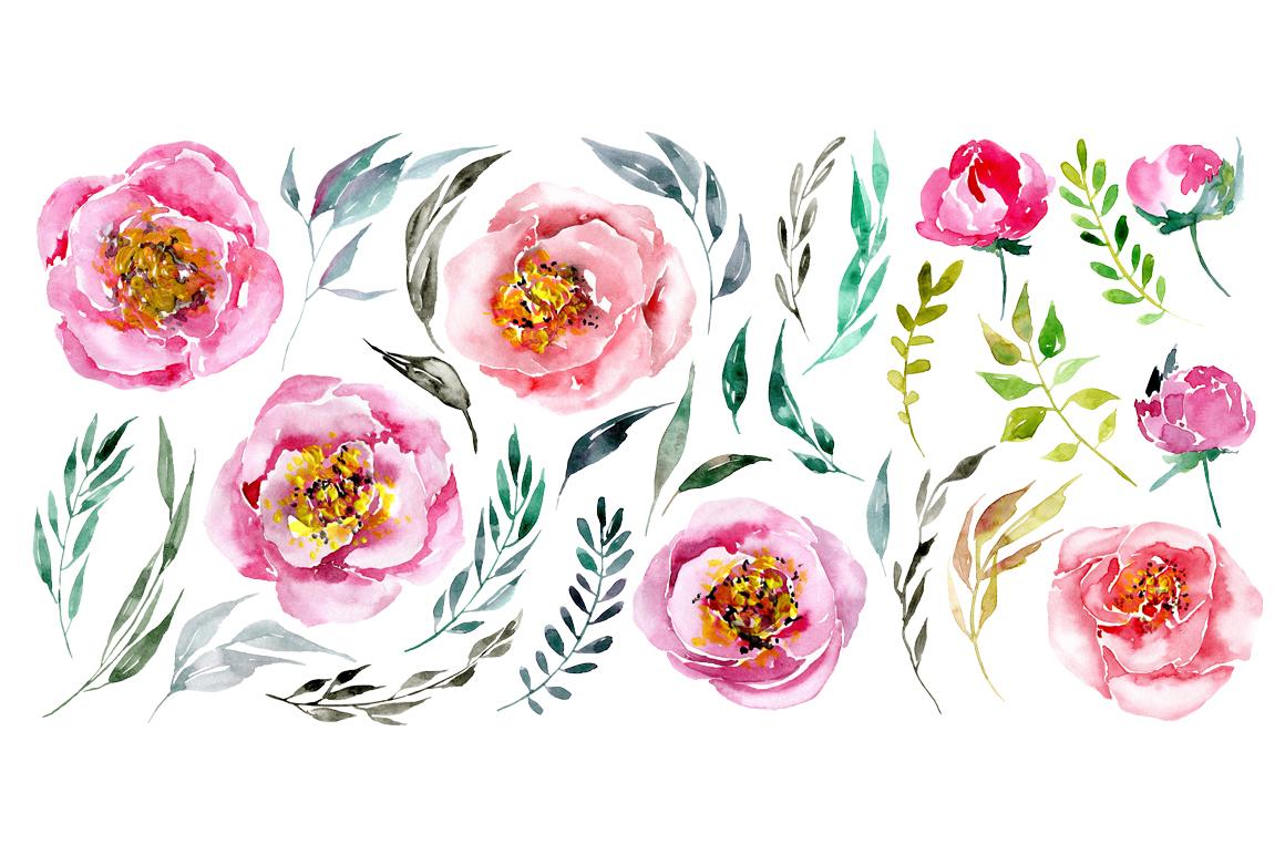 Watercolor flowers peonies png example image 2