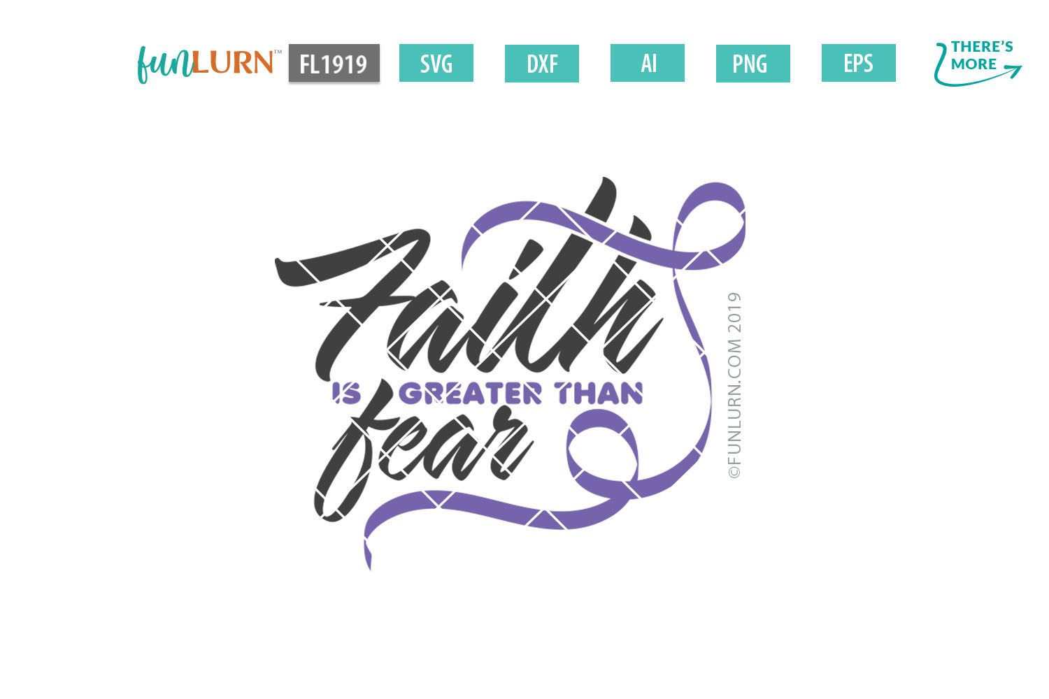Faith is Greater Than Fear Lilac Ribbon SVG Cut File example image 2