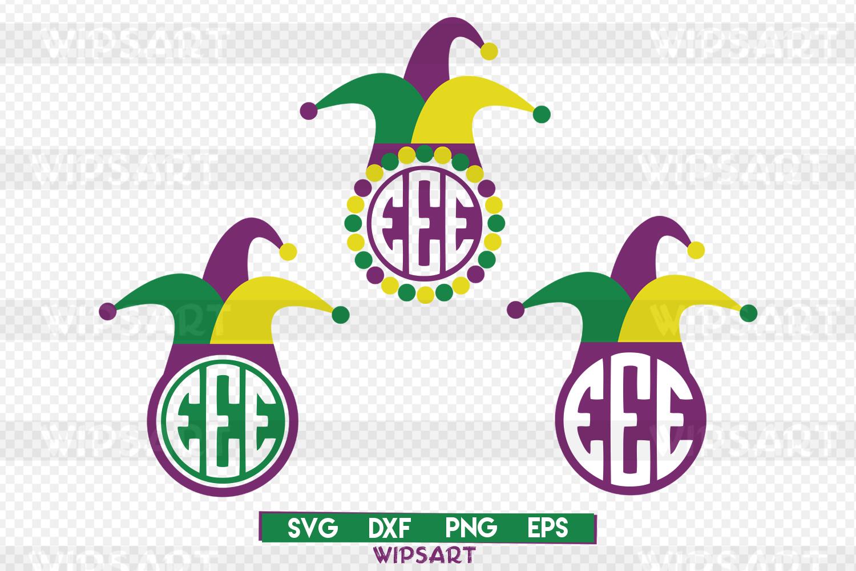 SALE! Jester hat svg, mardi gras hat svg,jester hat monogram example image 1