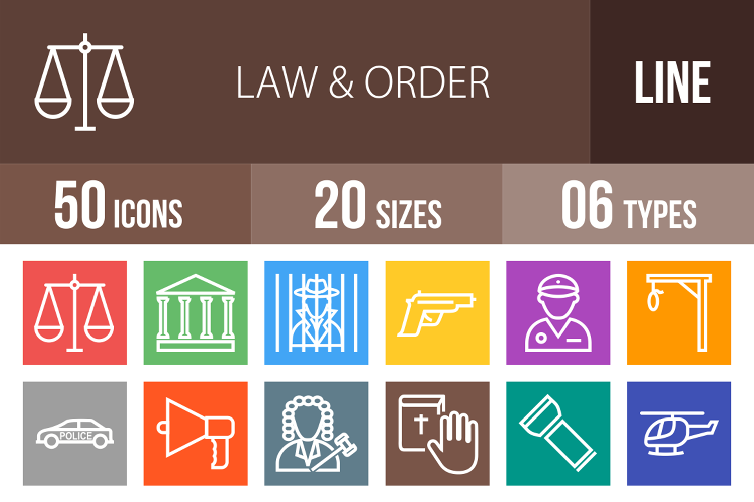 50 Law & Order Line Multicolor B/G Icons example image 1
