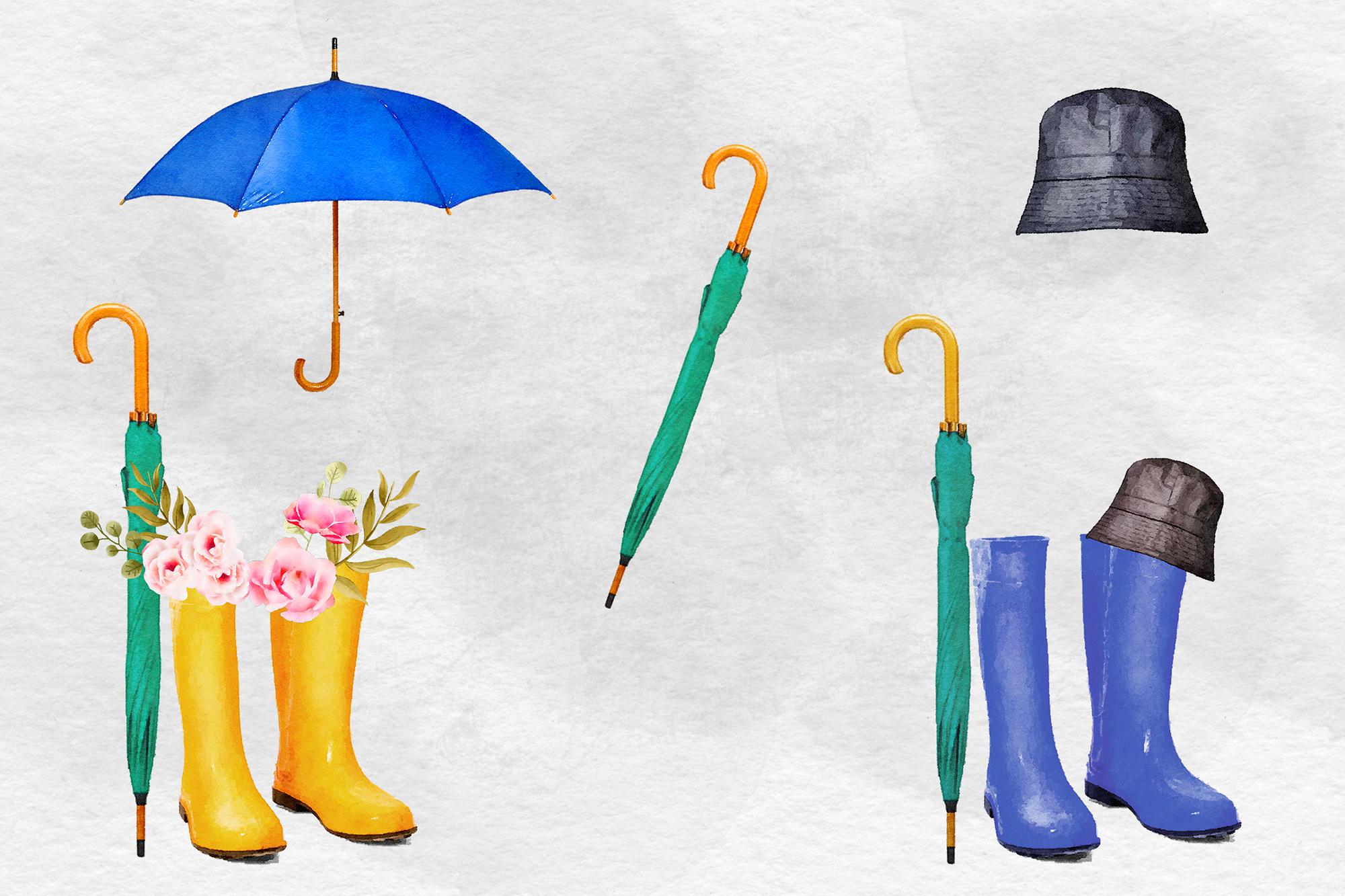 Watercolor Rain Boots Clipart, Wellington Boots example image 3