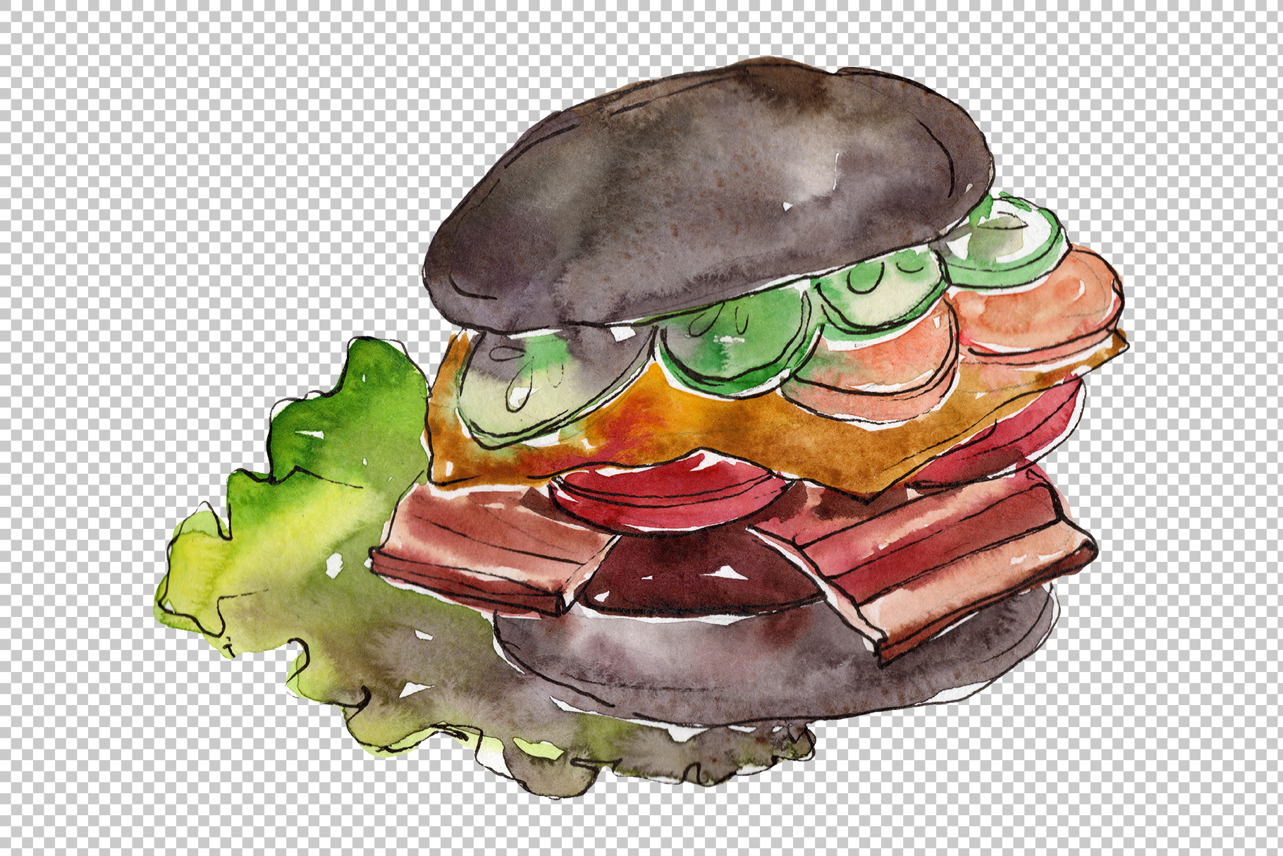 Hamburger black crunchy Watercolor png example image 2