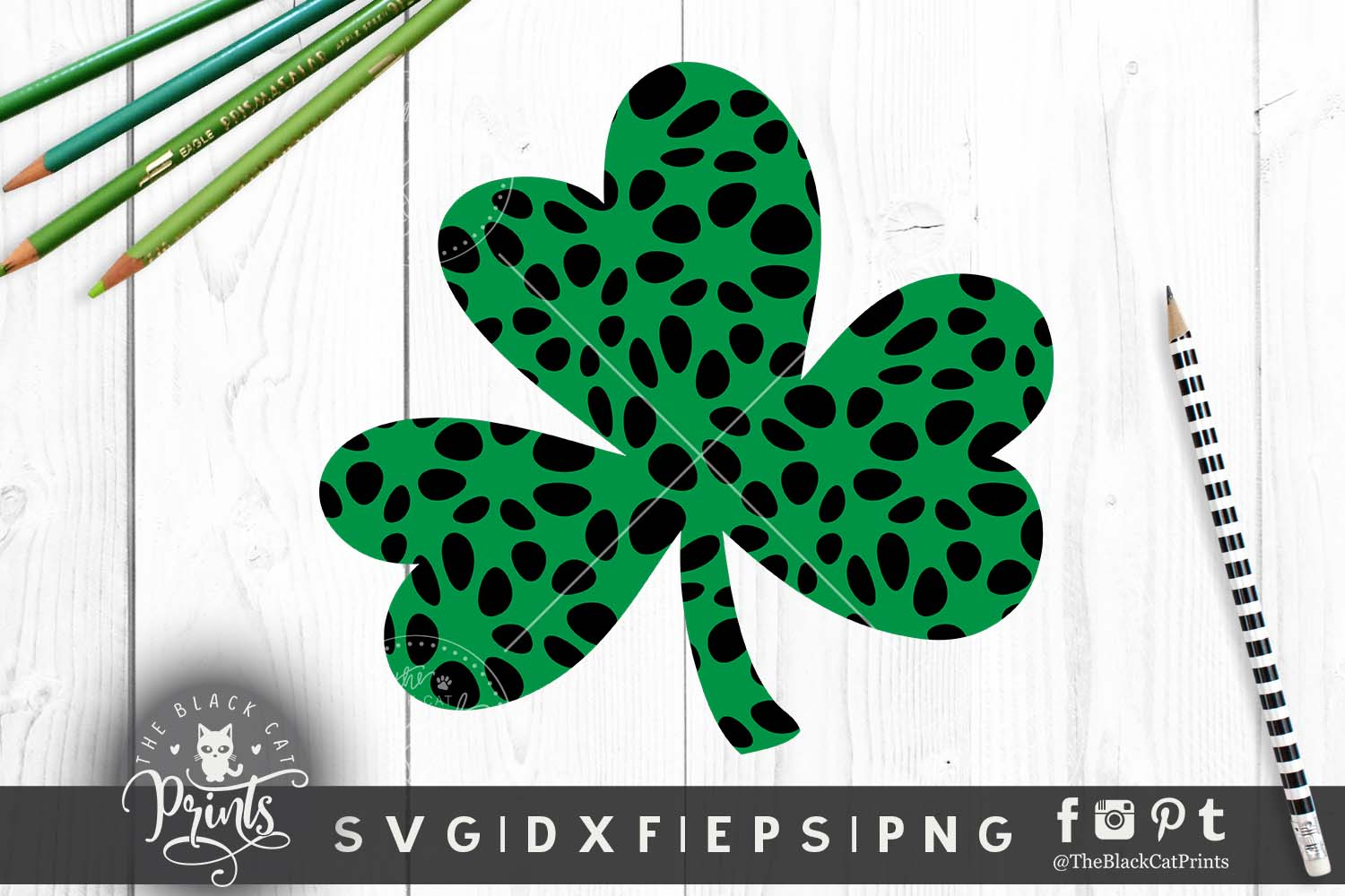 Shamrock Clover Clipart SVG DXF EPS PNG example image 6