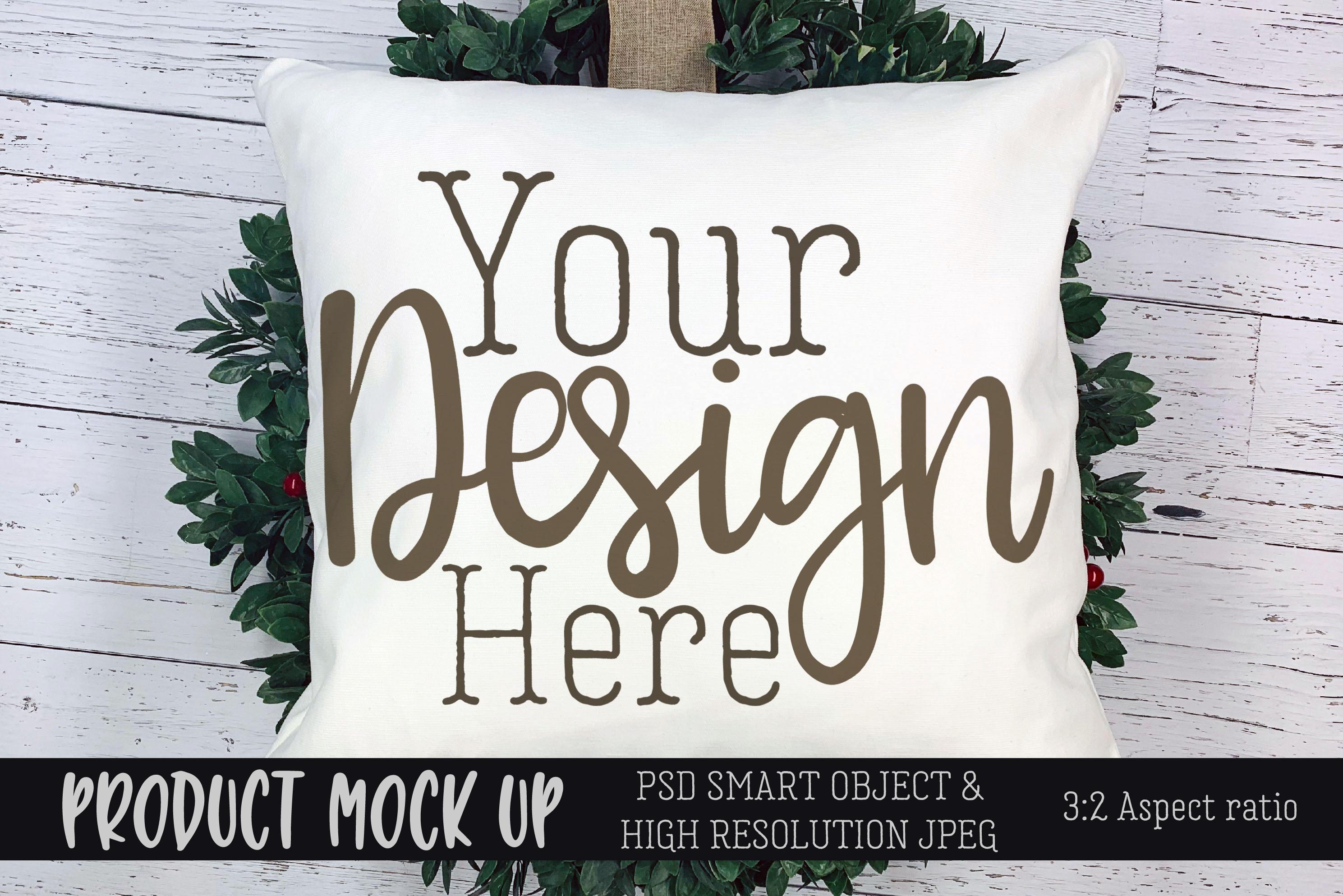 Winter Christmas pillow Craft mock up   PSD & JPEG example image 1