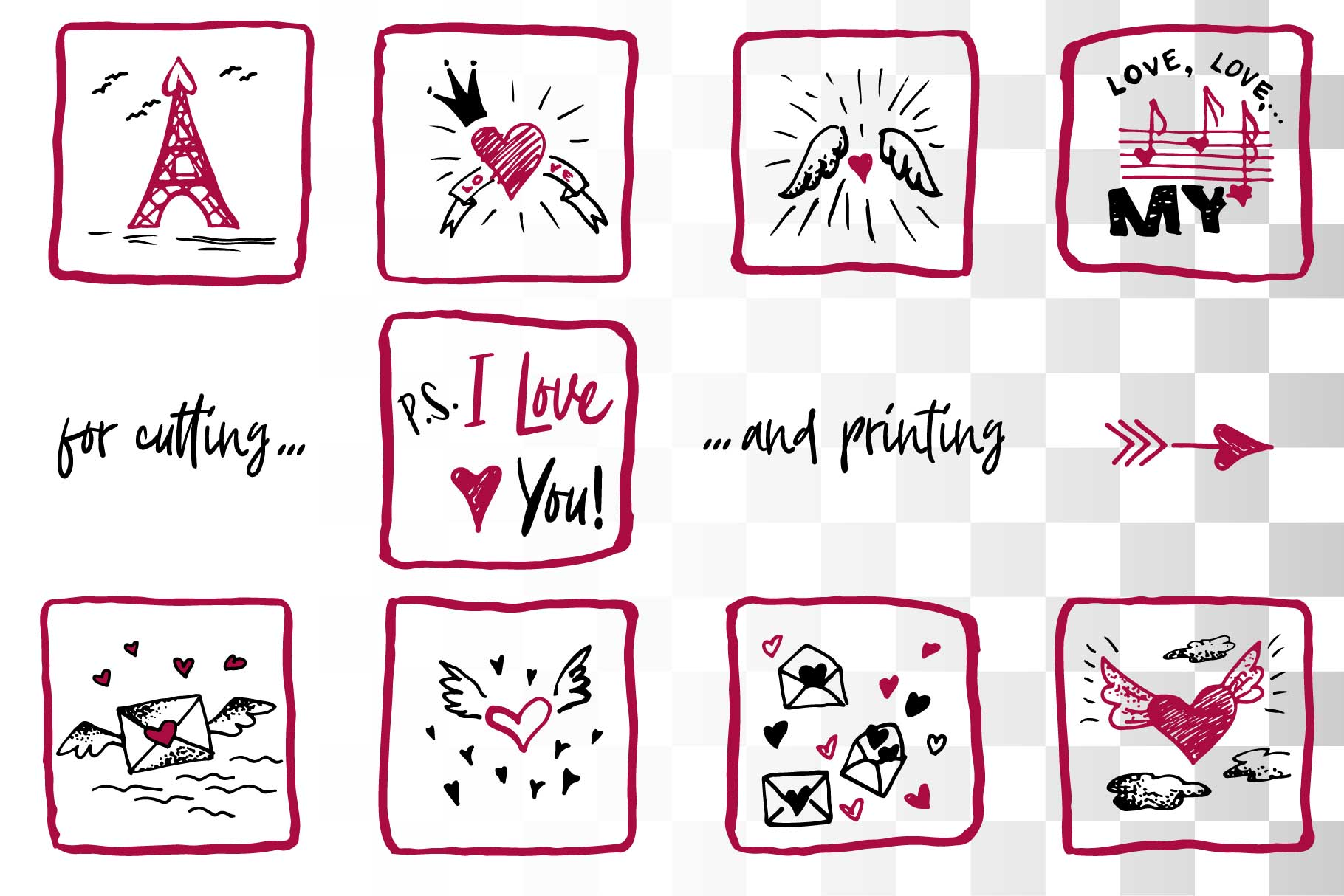 Lovely valentines day set - #5 SVG collection example image 2