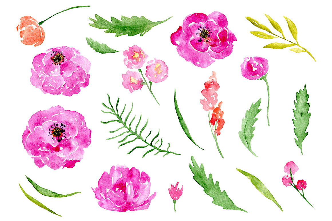 Watercolor flowers peony, floral set example image 2