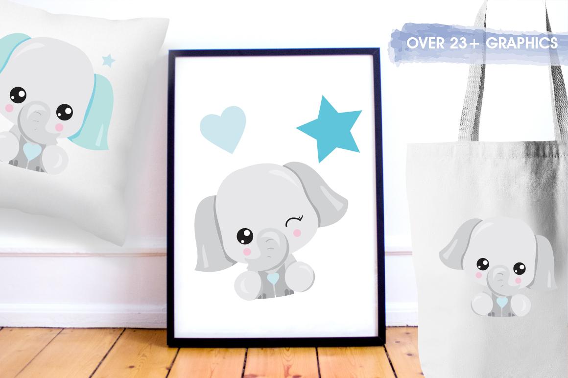 Kawaii Elephant graphics and illustrations example image 5