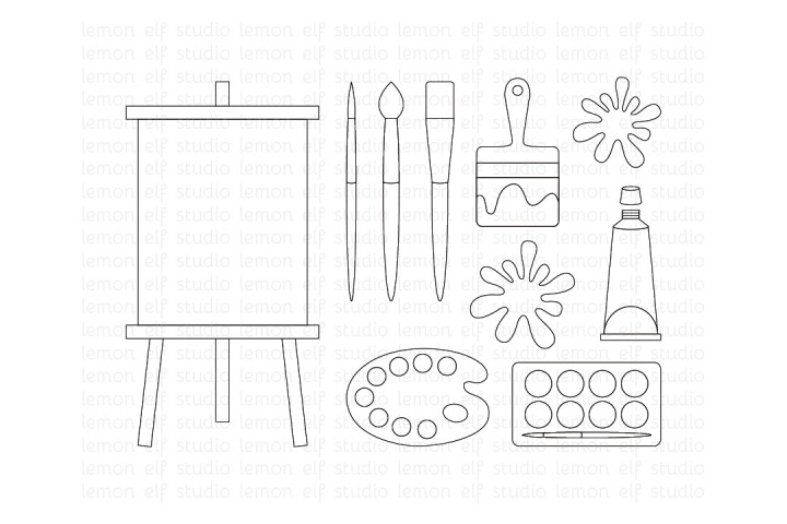 Painting Supplies-Digital Stamp (LES.DS07) example image 1