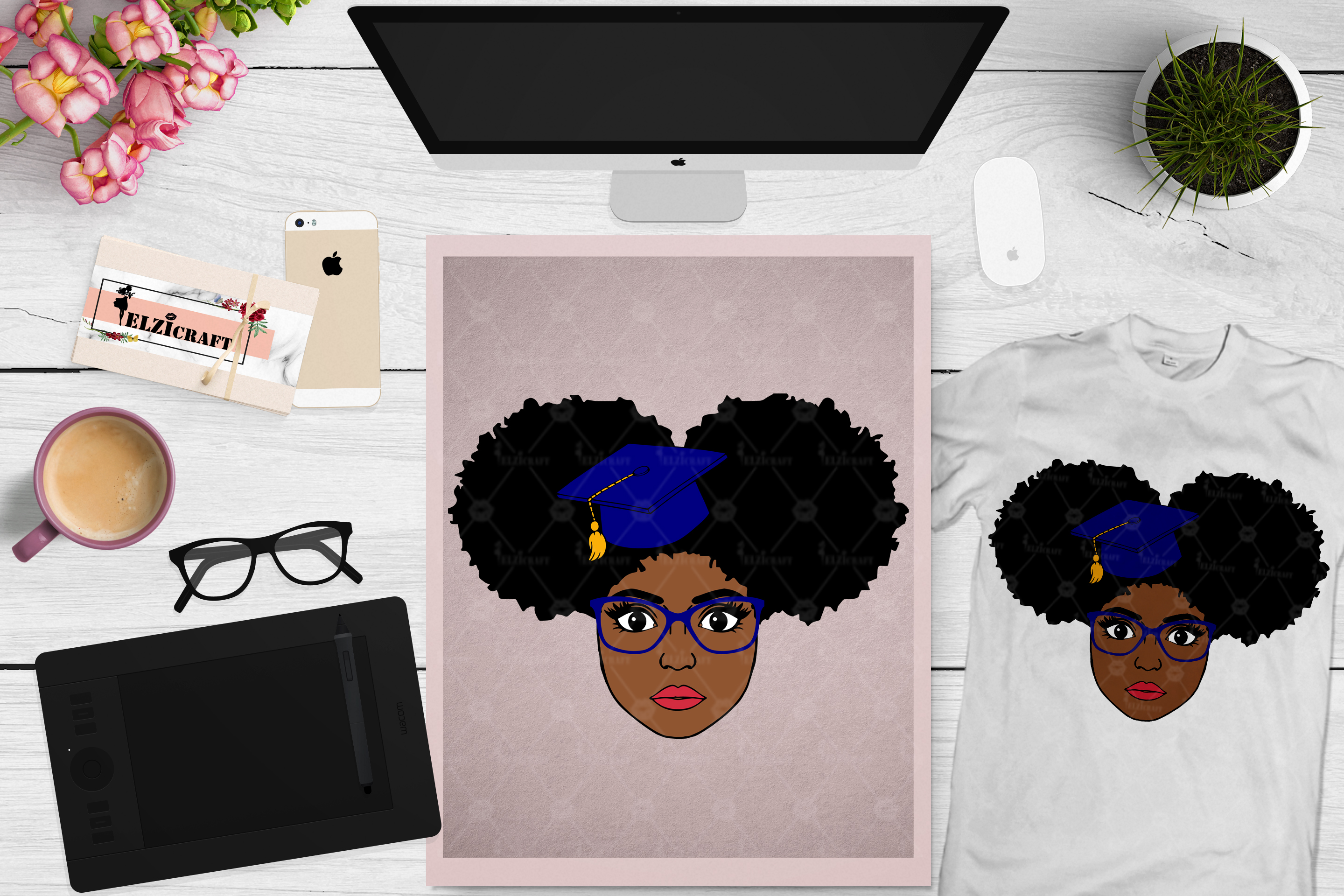 Afro Girl, Afro Puff, Afro Graduation, Glasses SVG Cut File example image 1
